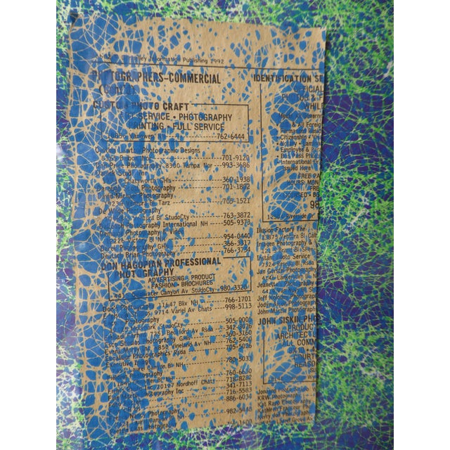 Blue Contemporary Abstract Newspaper Print For Sale - Image 8 of 11