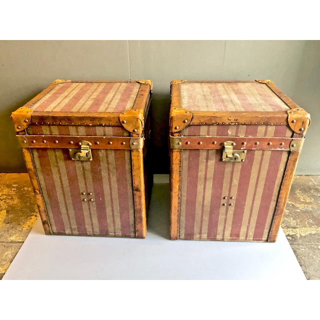 Pair of French Canvas and Leather Hat Trunks, Late 19th Century For Sale - Image 10 of 10