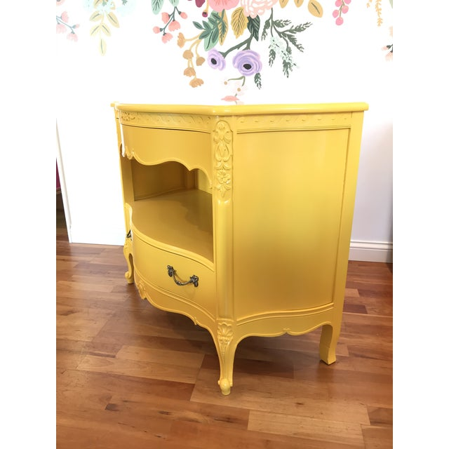 Louis XV Style Drexel Model 3211 Serpentine Front Yellow Paint Cabriole Leg Silverware Chest For Sale - Image 10 of 13