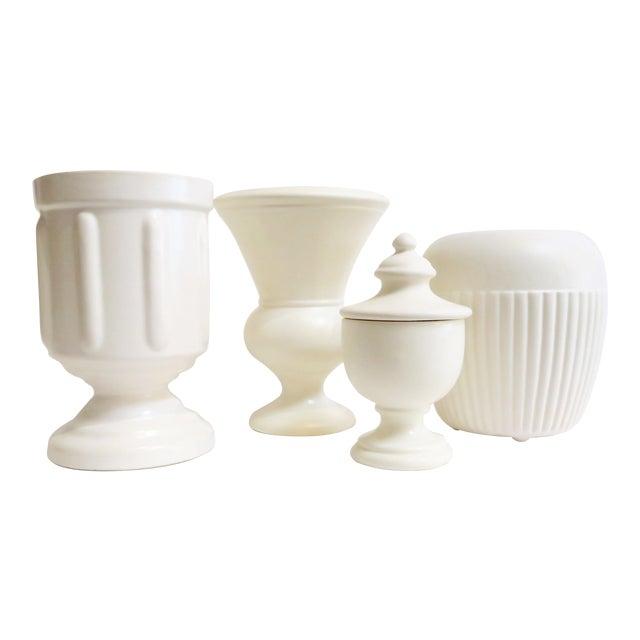 White Ceramic Vessels- Set of 4 - Image 1 of 5