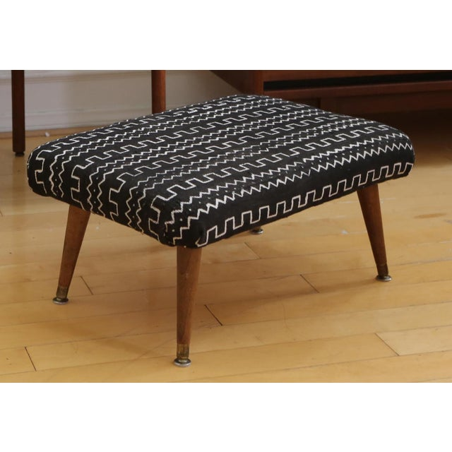 Mid-Century Modern Authentic African Mud Cloth From Mali Footstool - Image 3 of 7