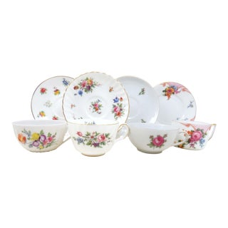 Vintage Mismatched Fine China Tea Cups & Saucers - Set of 4