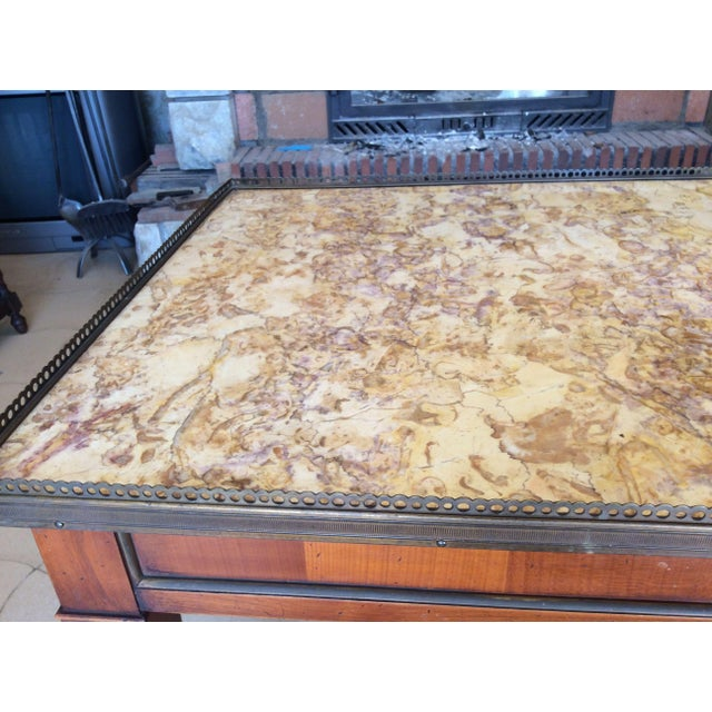 French Walnut Coffee Table With Marble Top For Sale - Image 5 of 11
