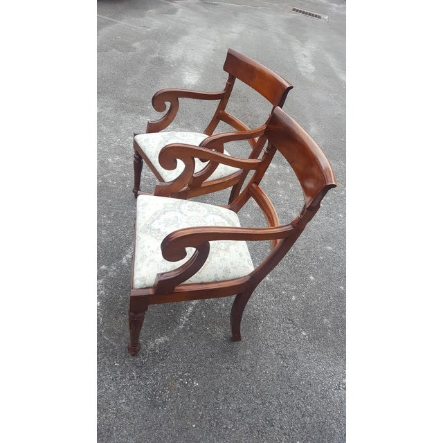 Traditional Wood Arm Chairs - A Pair - Image 3 of 7