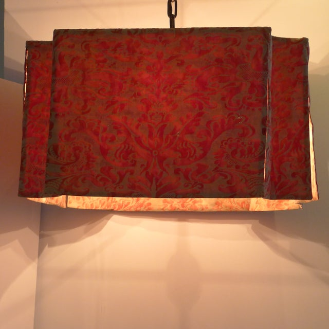 Paul Marra Modern Draped Chandelier in Vintage Fortuny Fabric by Paul Marra For Sale - Image 4 of 11