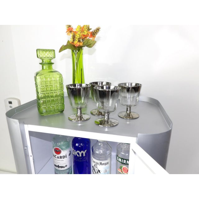 Metal Bar Cart - Gray White Cabinet Wine Barware Storage For Sale - Image 7 of 11