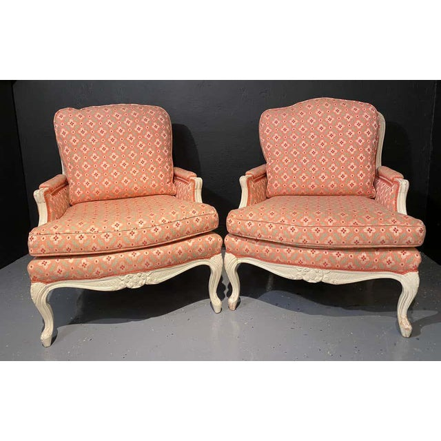 French Louis XVI Painted Bergère or Lounge Chairs, Scalamandre Upholstery - a Pair For Sale - Image 3 of 13