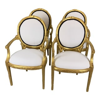 1990s Vintage Hollywood Regency Chairs- Set of 4 For Sale