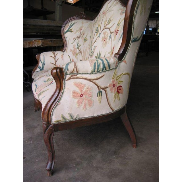 Italian 19th C. Italian Walnut Settee with Original Upholstery For Sale - Image 3 of 5