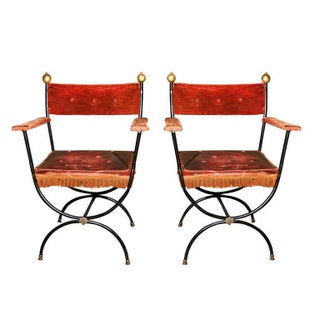 Pair French Metal Arm Chairs Preview