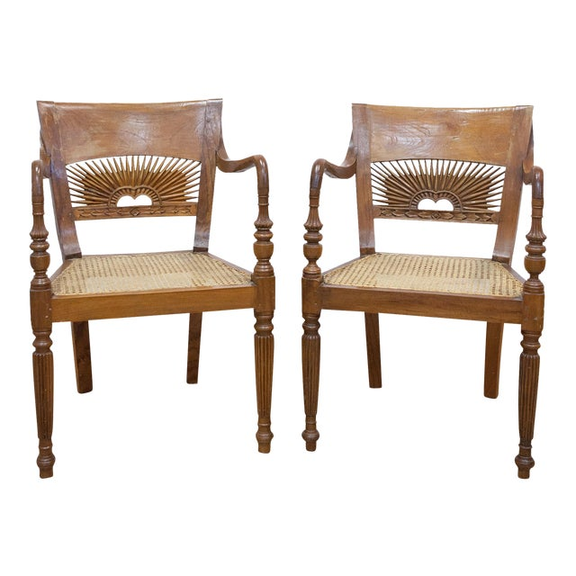 Vintage Teak & Cane Chairs - A Pair - Image 1 of 9