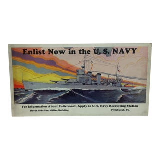 "Vintage &, Original u.s. Navy Recruiting Poster, Pittsburgh Pa, ""Enlist Now in the Us Navy"", 1939 For Sale"