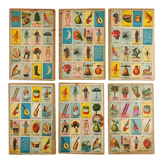 Vintage Mexican Loteria Bingo Cards - Set of 6 For Sale