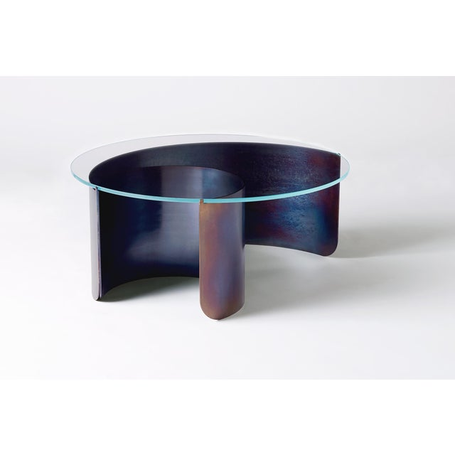 Contemporary Wave Coffee Table in Contemporary Heat Tempered Steel and Starfire Glass For Sale - Image 3 of 6