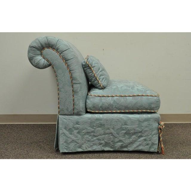 Vanguard Furniture Rolled Back Blue Upholstered Slipper Chair - Image 5 of 11