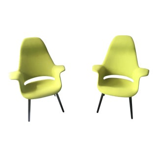 1940s Mid-Century Modern Eames Lime Green High Back Chairs - a Pair