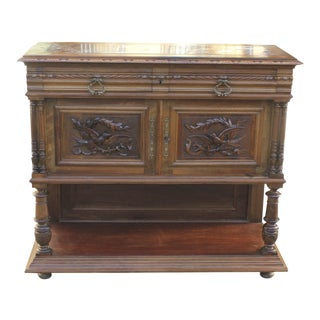 Beautiful French Louis XIII Sideboard / Buffet Marble Top Solid Walnut Circa 1890s