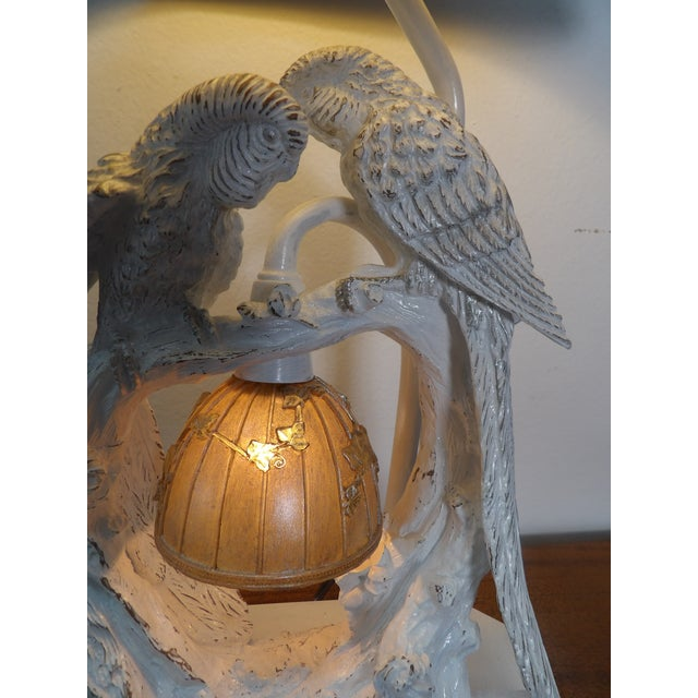 Parakeet Lamp in White Lacquer With Multiple Setting Lights With Silver Shade For Sale - Image 9 of 11