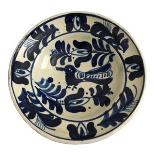 Vintage Moroccan Hand Made Blue & White Clay Bowl With Bird For Sale