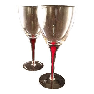 Red Drip Stem Wine Glasses - A Pair