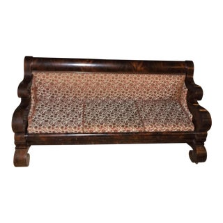 Early 19th Century Vintage Empire Flame Mahogany Sofa For Sale