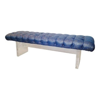 Contemporary Lucite Slab Tufted Upholstered Bench