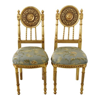 Italian Gilt Chairs W/ Scalamandre Silk Embroidered Fabric - Pair For Sale