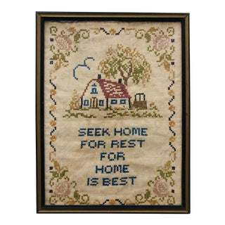 "Antique Hand Stitch in Frame ""Seek Home"" For Sale"