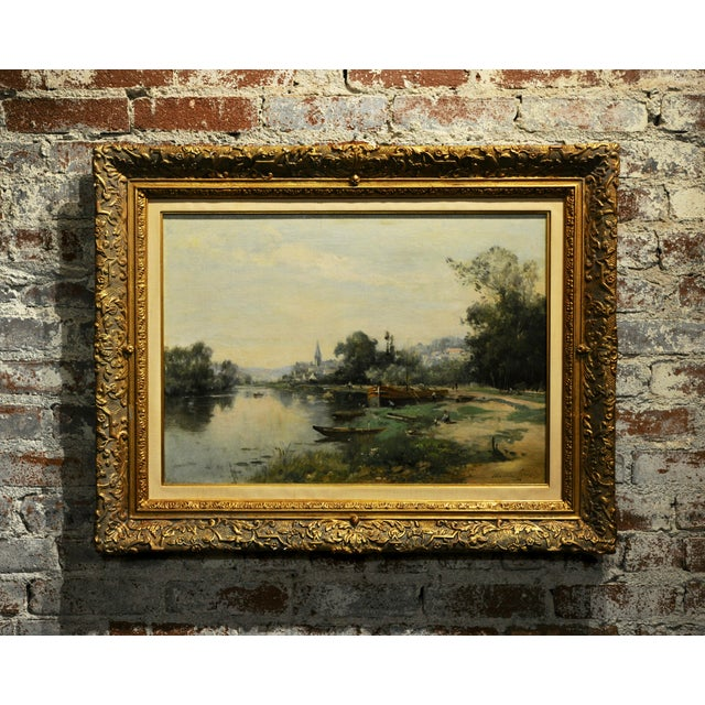Maurice Levis -Picturesque French River Scene -19th Century Oil Painting For Sale - Image 10 of 10