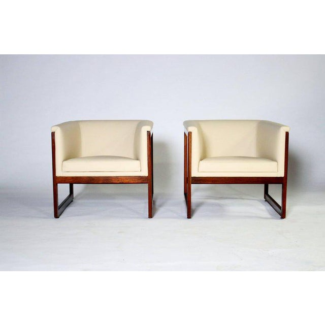 Animal Skin Pair of Milo Baughman Cube Club Chairs For Sale - Image 7 of 8