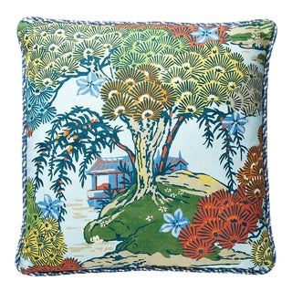 Sea of Trees Pillow with Trim in Blue For Sale