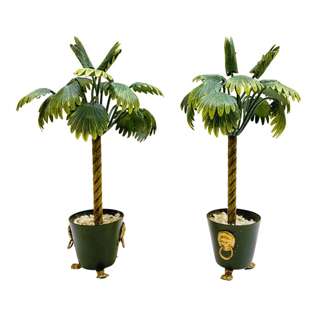 Pair of Hollywood Regency Petite Choses Cold Painted Bronze Palm Trees For Sale