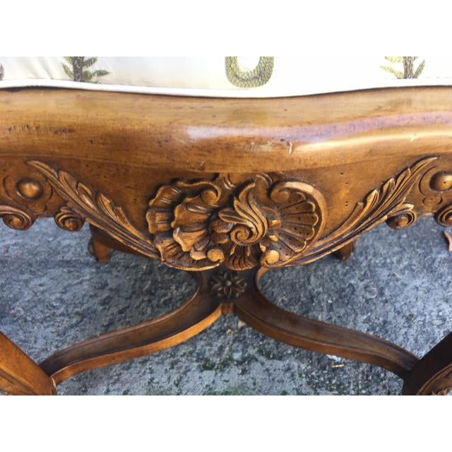 Vintage Walnut French Provincial Bench With Embroidered Upholstery For Sale - Image 4 of 10