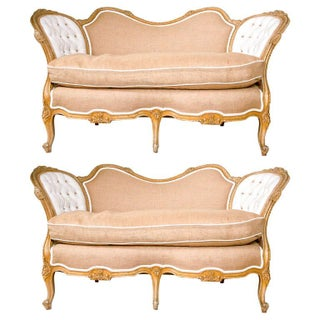 Pair of Carved Louis XV Style Canape Settees White Tufted and Burlap Upholstery For Sale