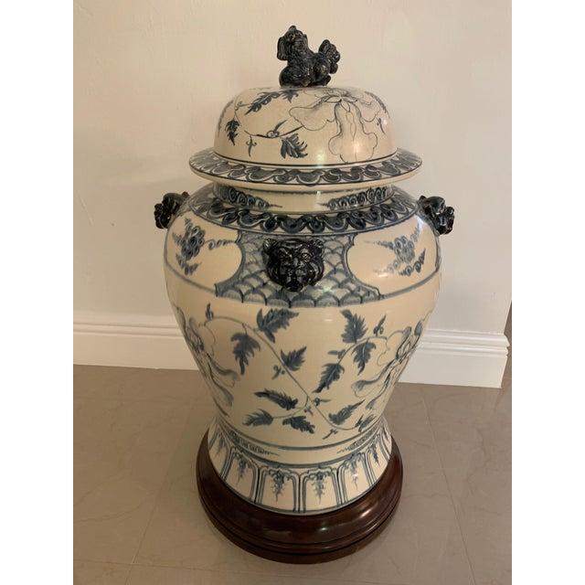 Antique Theodore Alexander Ming Design White Ginger Jar on Wood Base For Sale - Image 11 of 11