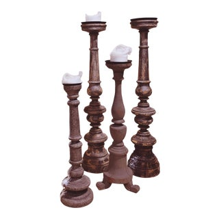Reclaimed Wood Candle Holders - Set of 4 For Sale