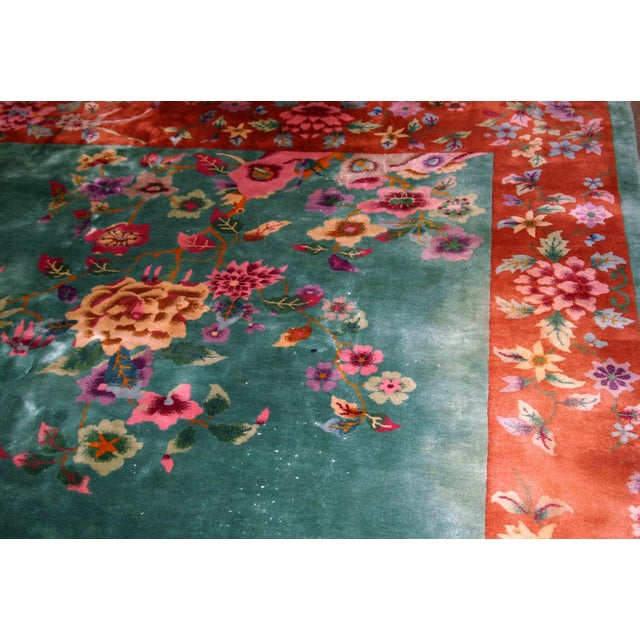 1920s 1920s, Handmade Antique Art Deco Chinese Rug 8.10' X 11.6' For Sale - Image 5 of 11