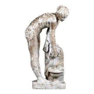 French Early 20th Century Garden Statue of Young Woman Bathing For Sale