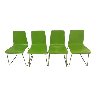 Lime Green CB2 Echo Chairs - Set of 4