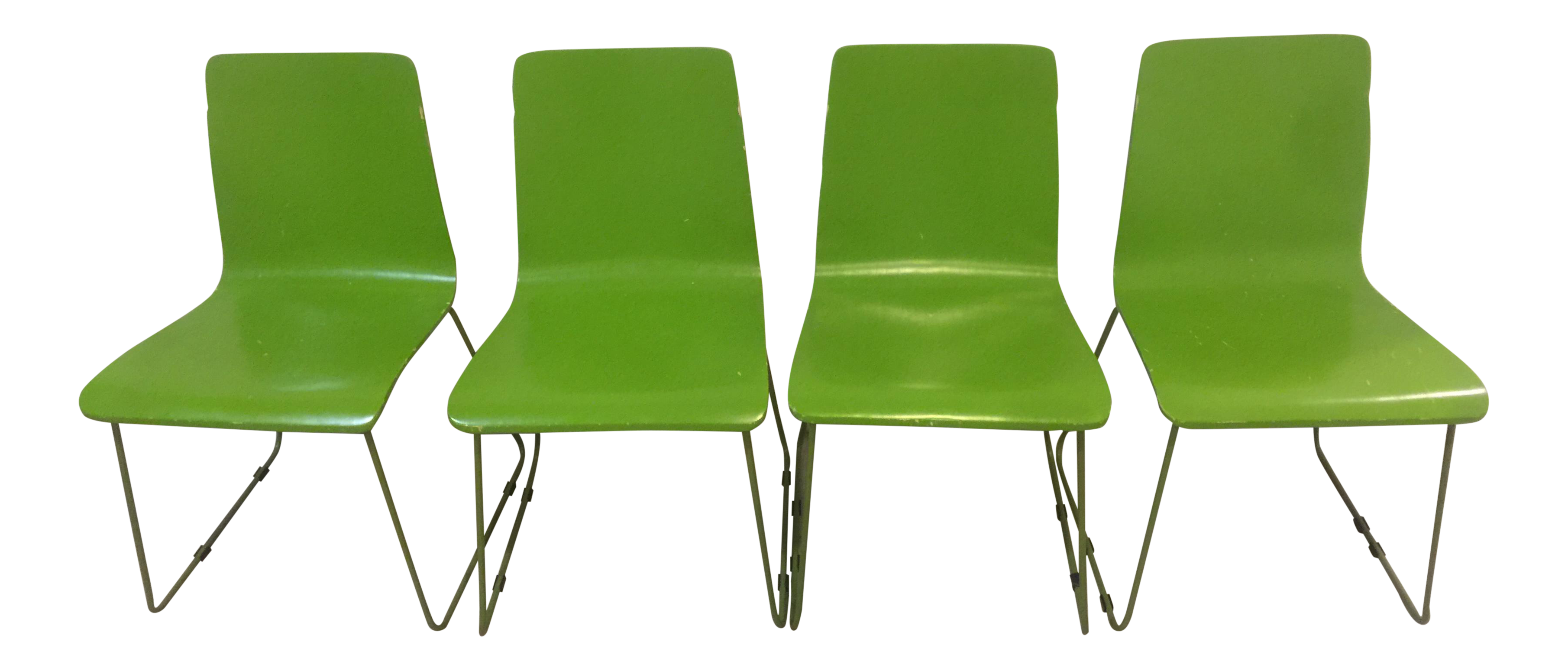 Lime Green CB2 Echo Chairs   Set Of 4