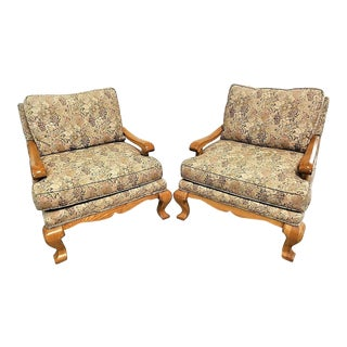 Taylor King Upholstered Armchairs - a Pair For Sale