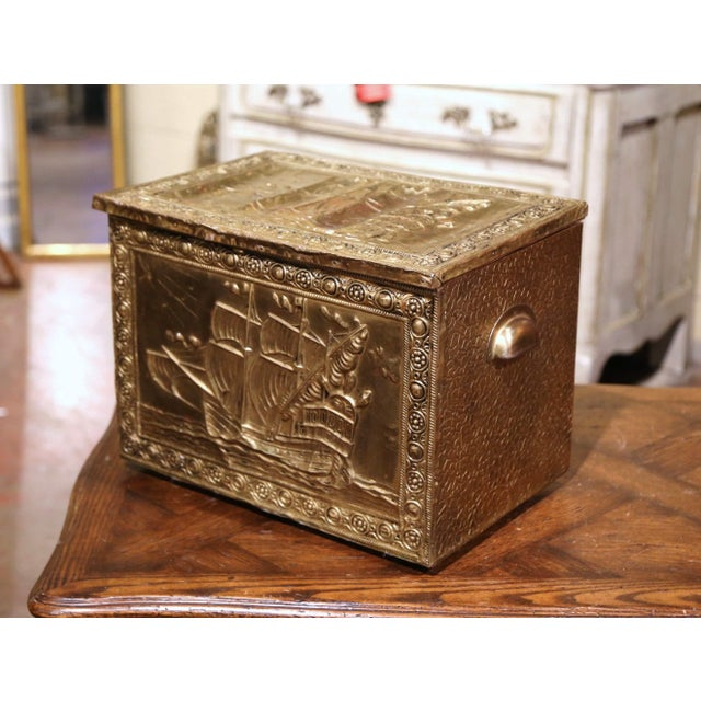 19th Century French Repousse Brass and Wood Box With Sailboat Decor For Sale - Image 10 of 10