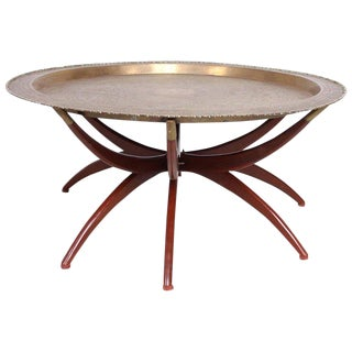 Moroccan Brass Tray Table on Folding Stand, 1960s, Mid-Century For Sale
