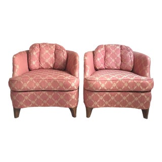 Drexel Heritage Mid Century Coral & Gold Club Chairs - a Pair