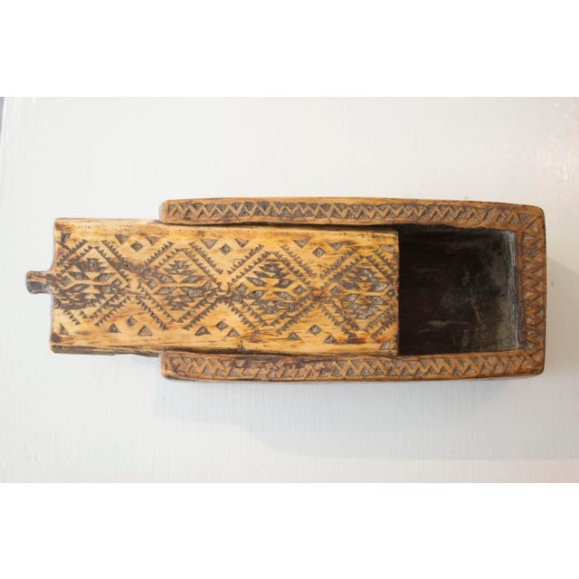 Moroccan Sliding Top Wooden Box For Sale - Image 4 of 4