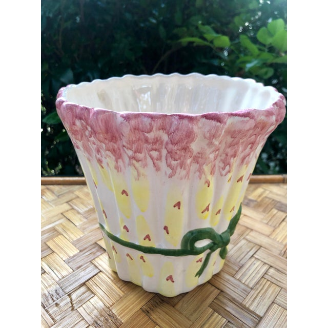 Late 20th Century Asparagus Trompe l'Oeil Ceramic Planter Cachepot For Sale - Image 5 of 8