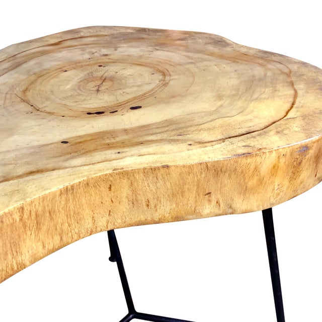 Rustic Live Edge Pine Slab End Table For Sale - Image 11 of 13
