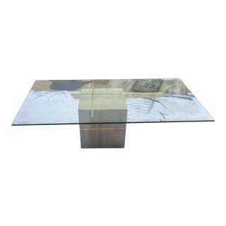 Vintage Travertine and Brass Coffee Table For Sale