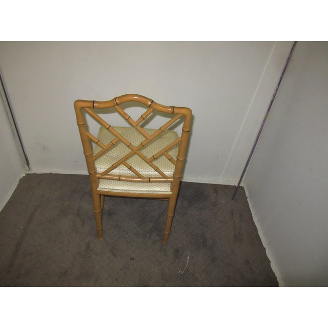 Hollywood Regency Style Faux Bamboo Chairs in Original Natural Finish - Set of 6 For Sale - Image 4 of 9
