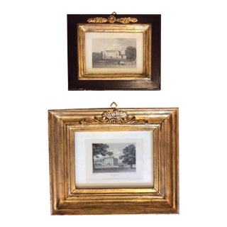 19th Century Antique English Mansion Engraving Prints With Gilt Frames - a Pair For Sale